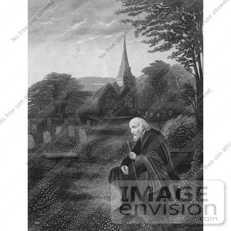 Retro Clipart Of A Lone Elderly Man In A Cemetery Near A Church.