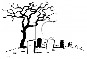 Black and White Line Drawing of a Dead Tree in a Graveyard.