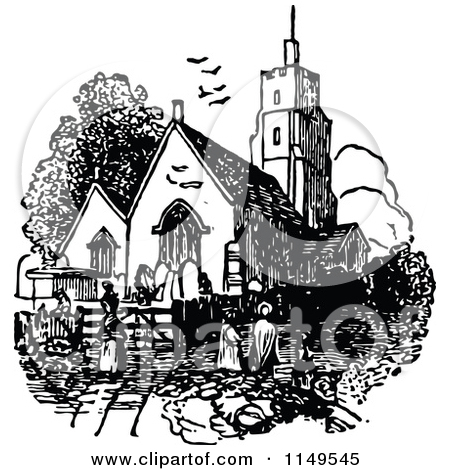 Clipart of a Retro Vintage Black and White Crown and Church.
