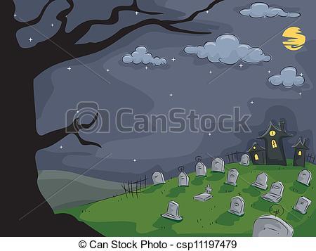 Vectors Illustration of Graveyard Background.