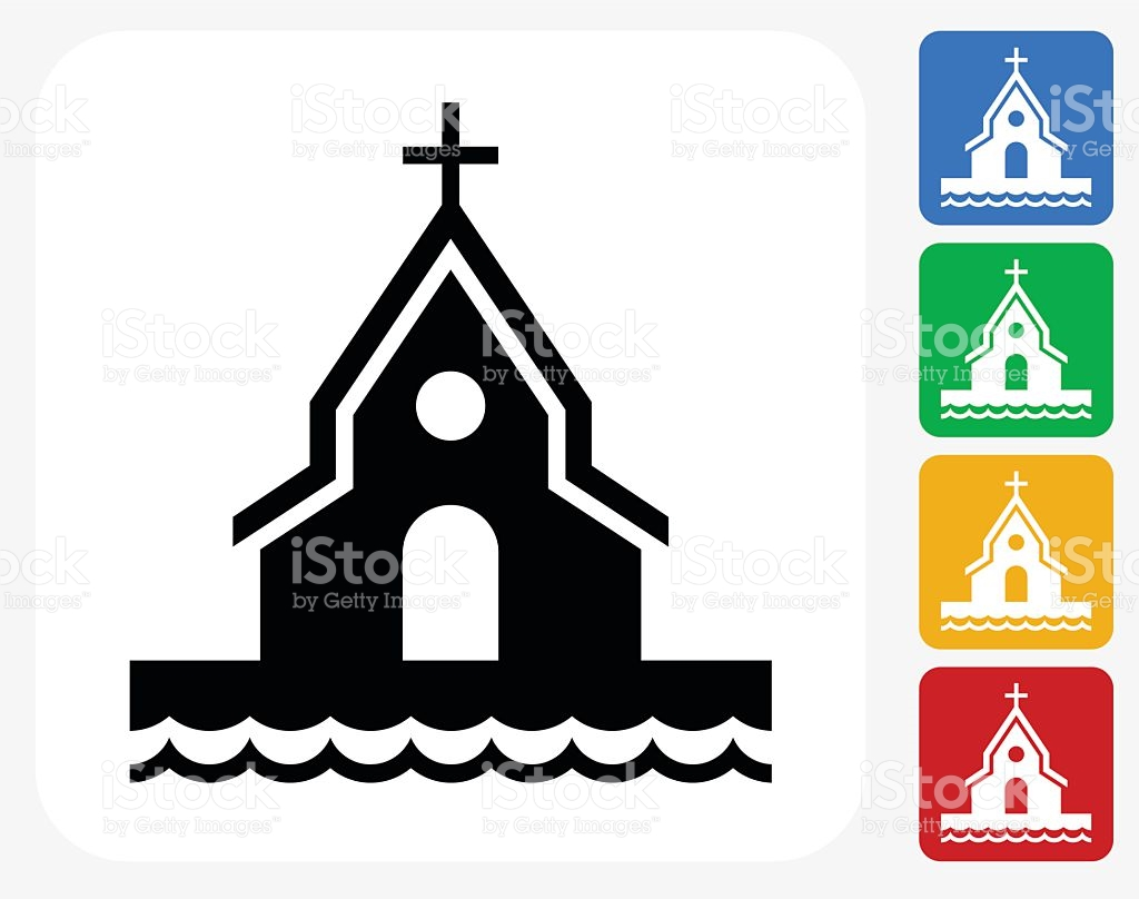 Church On The Beach Icon Flat Graphic Design stock vector art.