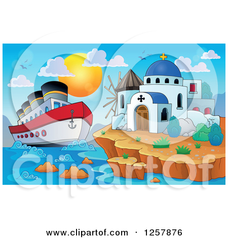 Clipart Travel Cruiseship Arriving At A Tropical Beach.