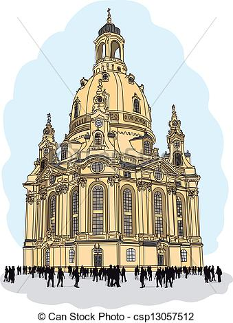 Vector Clip Art of church of our lady.