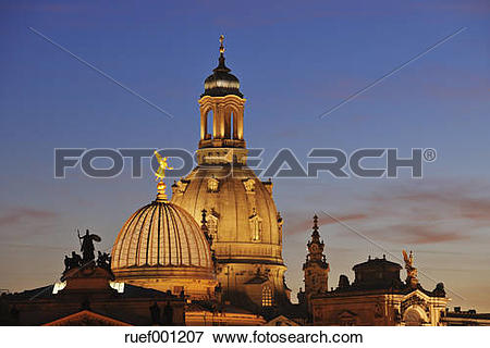Picture of Germany, Saxony, Dresden, view to cupola of lighted.