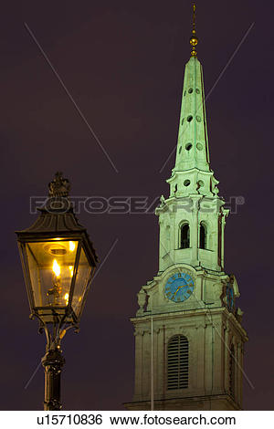 Stock Images of England, London, Traflagar Square. Flame lit.