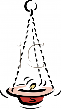 Royalty Free Clipart Image: Religious Oil Lamp or Hanging Candle.