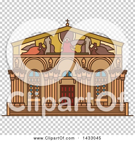Clipart of a Line Drawing Styled Israel Landmark, Church of All.
