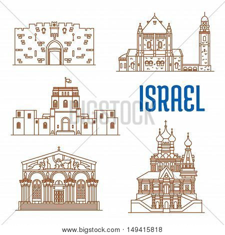 Israel vector thin line icons of Lions Gate, Dormition Abbey.
