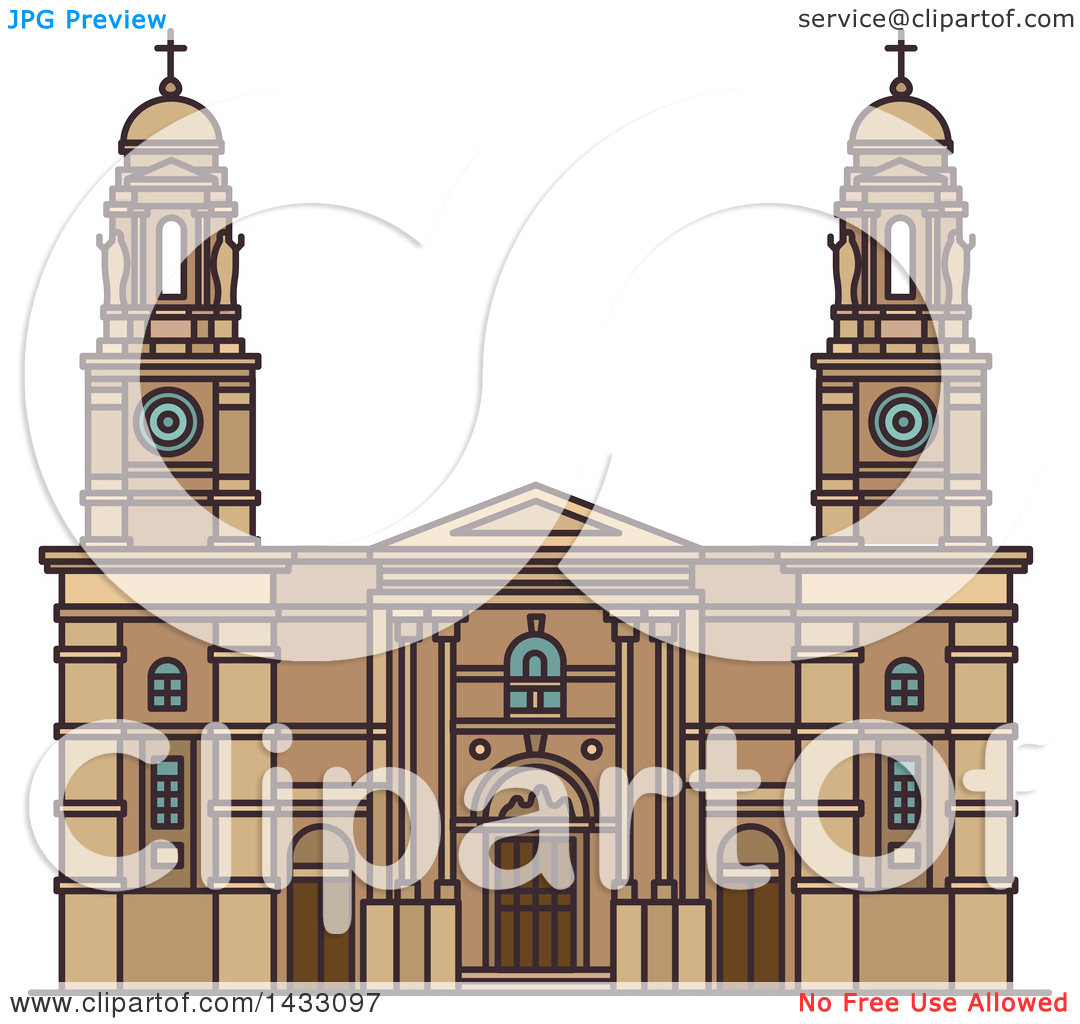 Clipart of a Line Drawing Styled Uruguay Landmark, Church of Our.