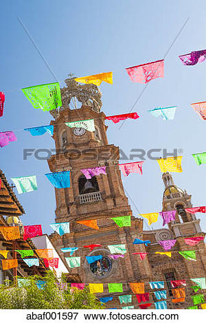 Picture of Mexico, Jalisco, Puerto Vallarta, Colorful flags, Tower.