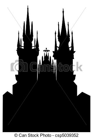 Vector Illustration of Church of Our Lady before Tyn.