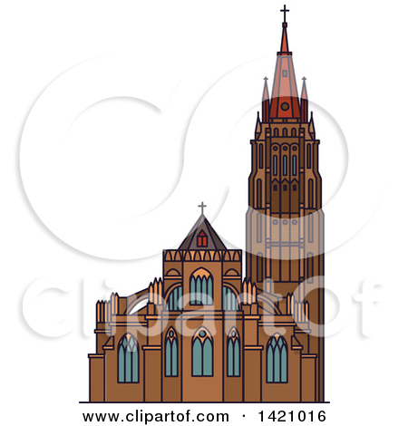 Clipart of a Black and White Church Building 9.