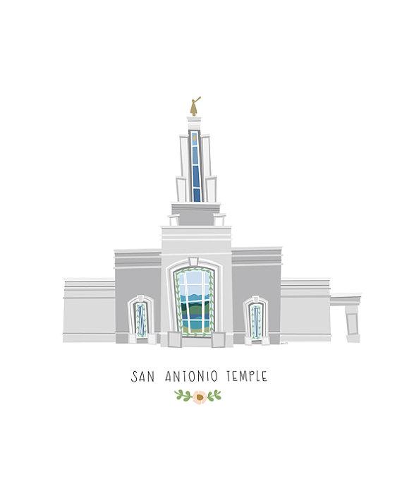 Items similar to San Antonio Temple Customized Art Print for.