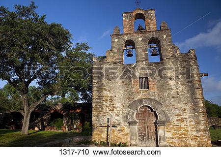 Stock Photography of Facade of a church, Mission Espada, San.