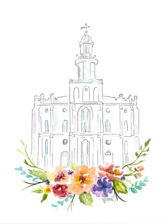 LDS Temple watercolor (St. George), St. George Temple.