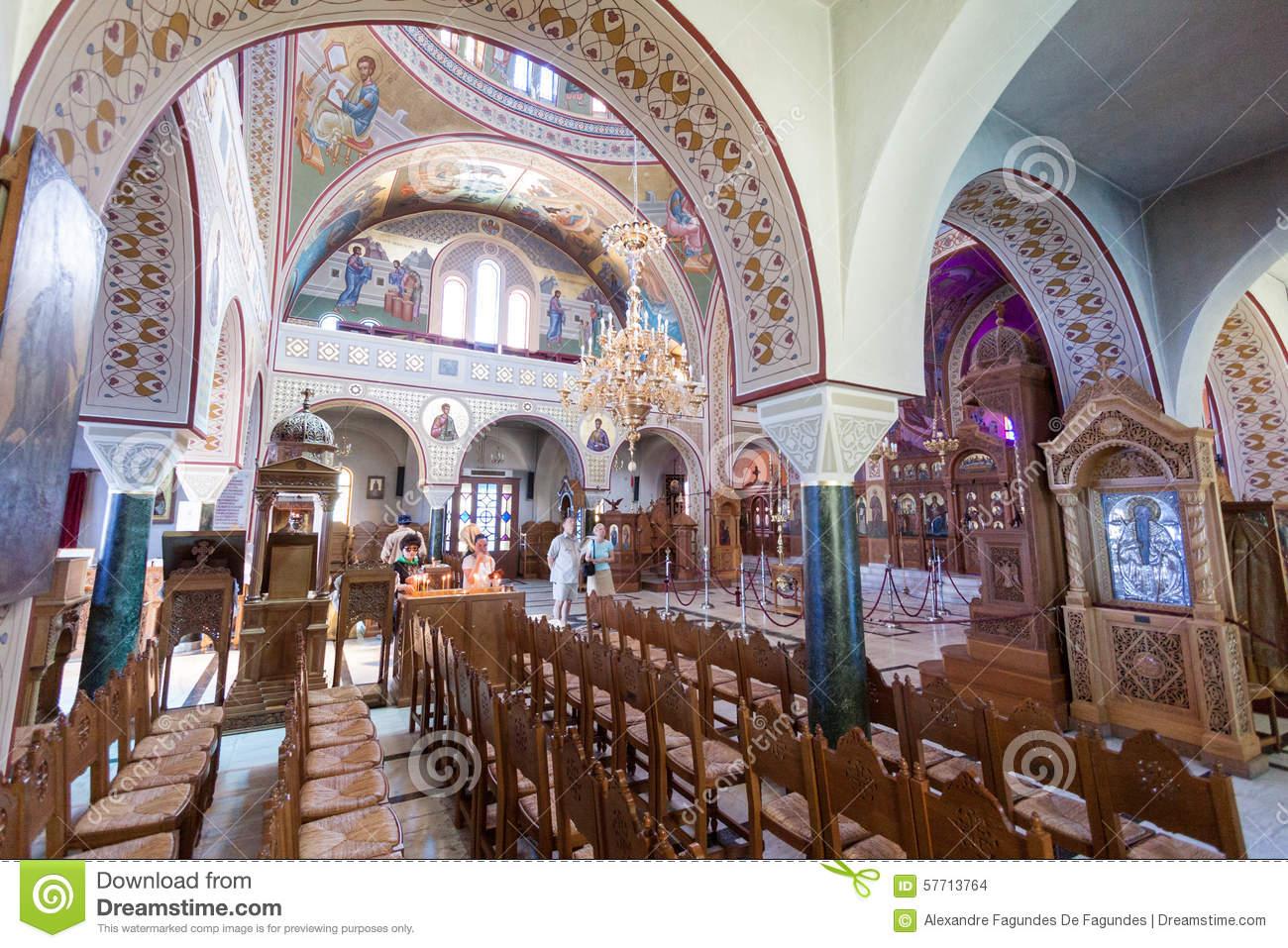 St John De Baptist Church Santorini Greece Stock Photo.