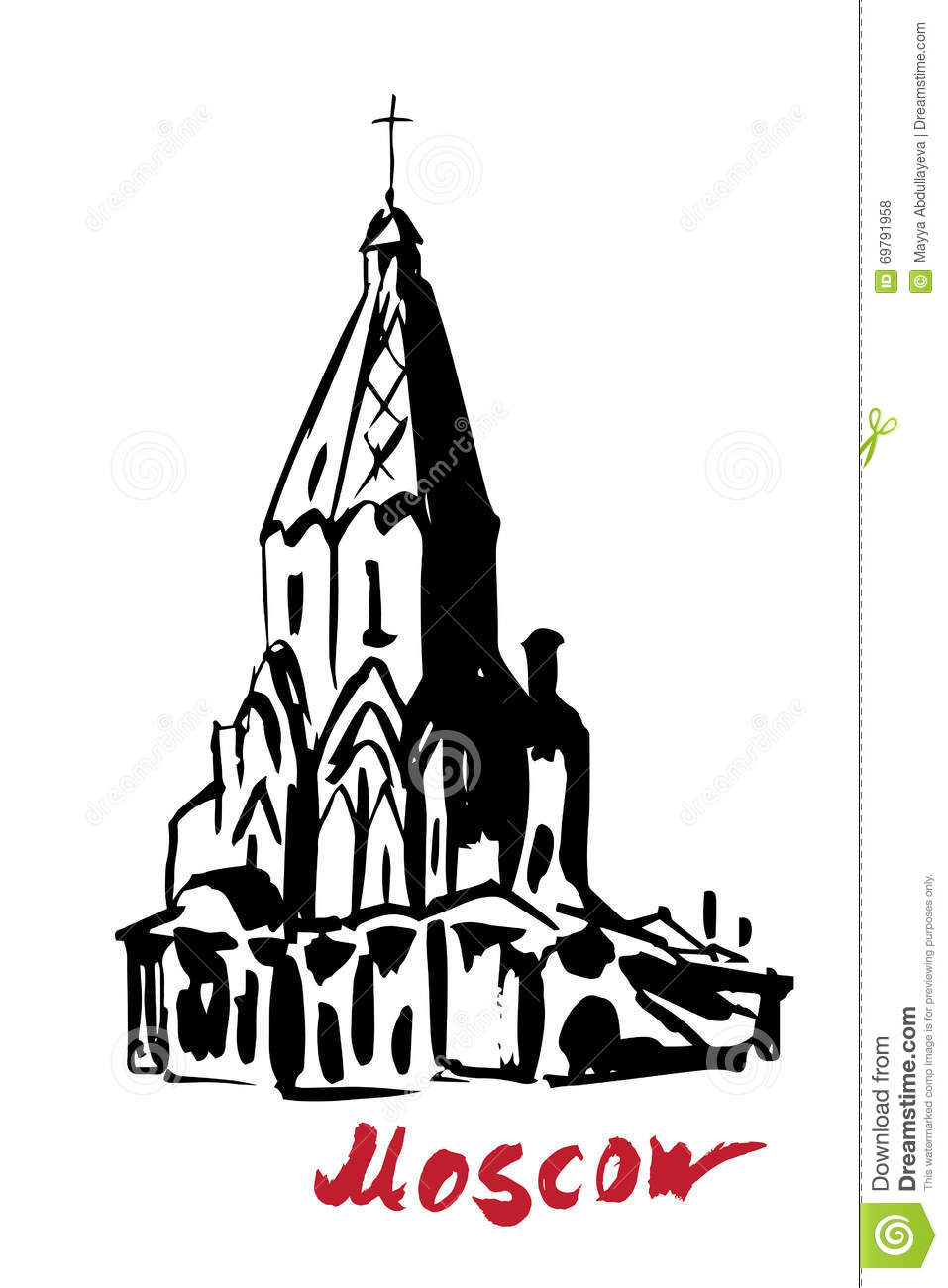 Kolomenskoye, Church Of The Ascension Stock Vector.