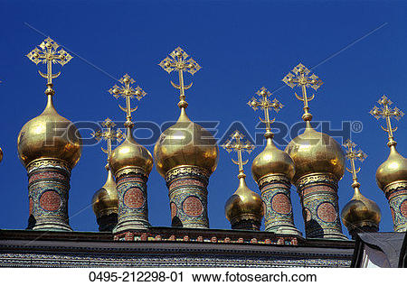Stock Photography of Russia, Moscow, Kremlin, Cupolas of the Terem.
