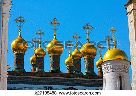 Stock Illustration of The Moscow Kremlin.The Church in Russia.