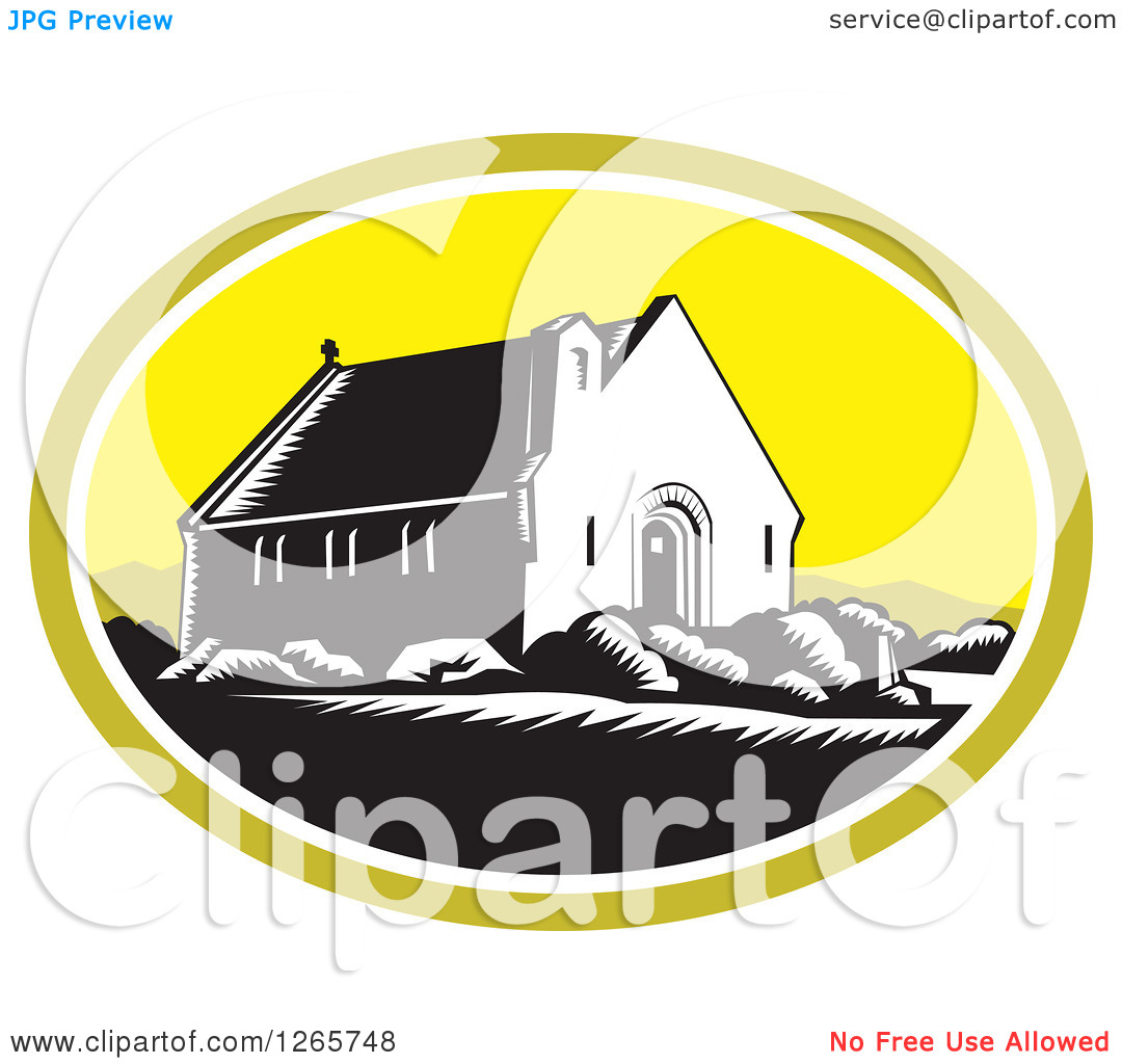 Clipart of a Retro Woodcut Scene of the Church of Good Shepherd in.