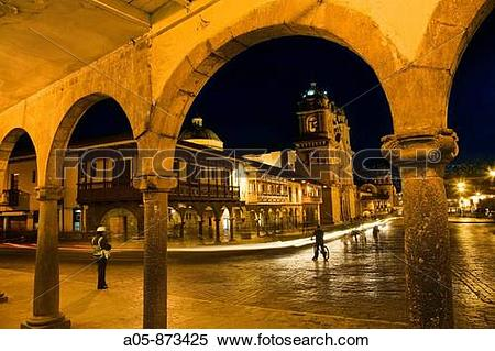 Stock Image of Plaza de Armas with the church of the Society of.