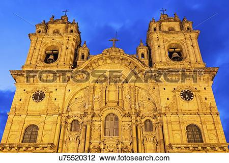 Stock Photo of Low angle of facade of Church of Society of Jesus.