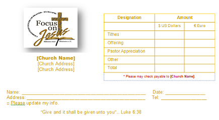 Church Offering Envelope Templates for your church tithing needs at.