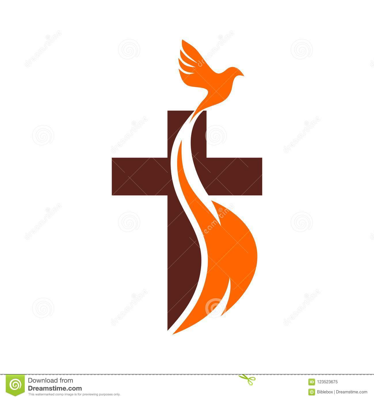 Church Logo. Christian Symbols. The Cross Of Jesus, The Fire Of The.