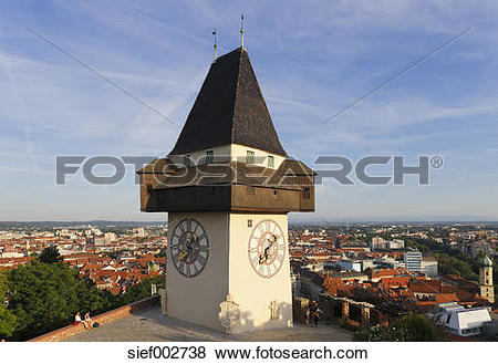 Pictures of Austria, Styria, Graz, View of clock tower on.