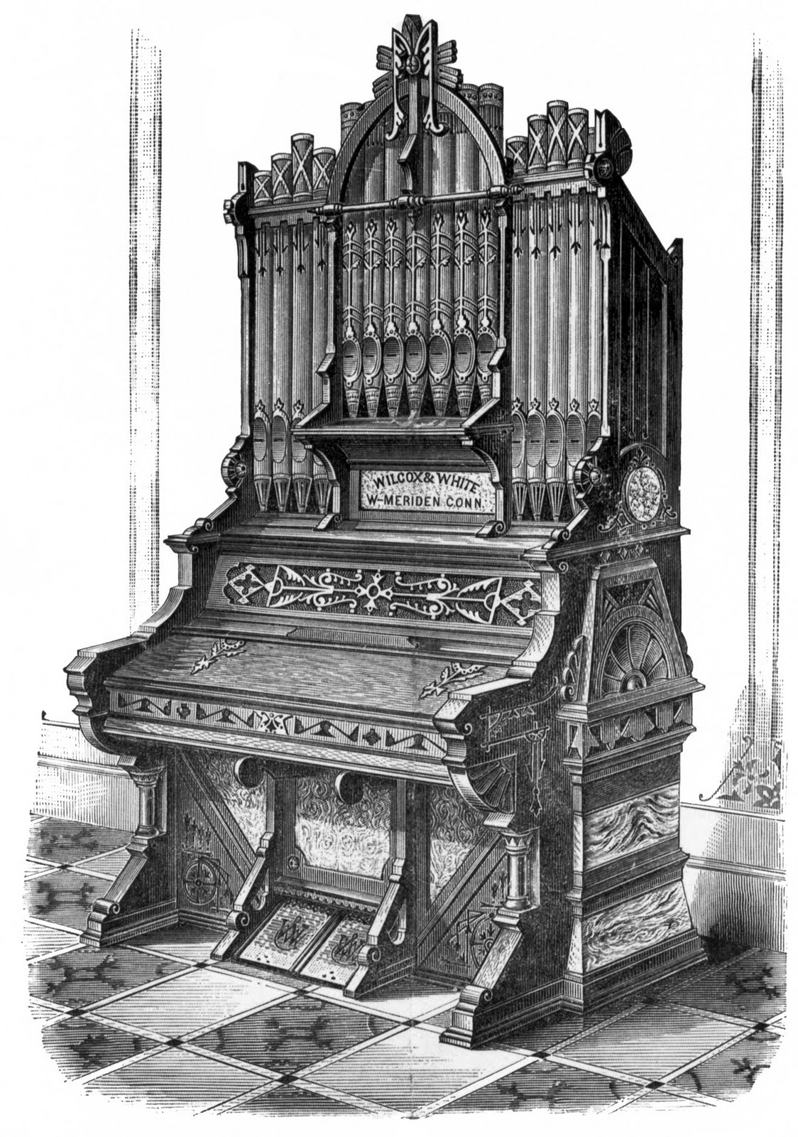 Church Organ Vintage Clipart.