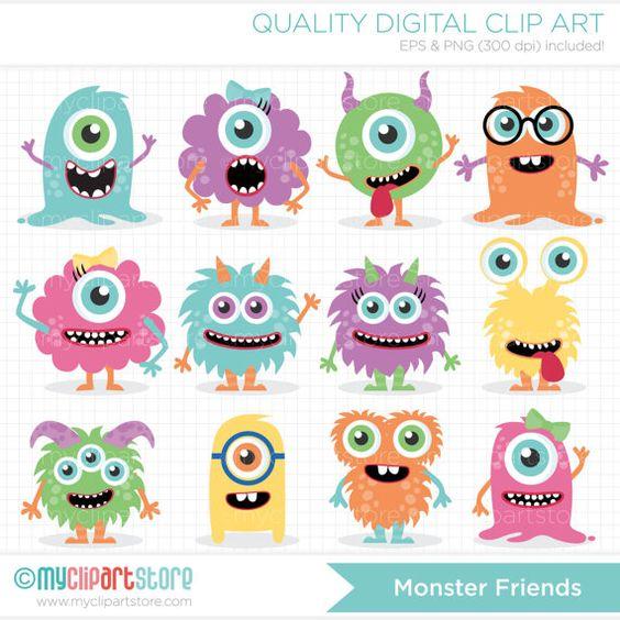 Monster Friends Clip Art / Digital Clipart by MyClipArtStore.