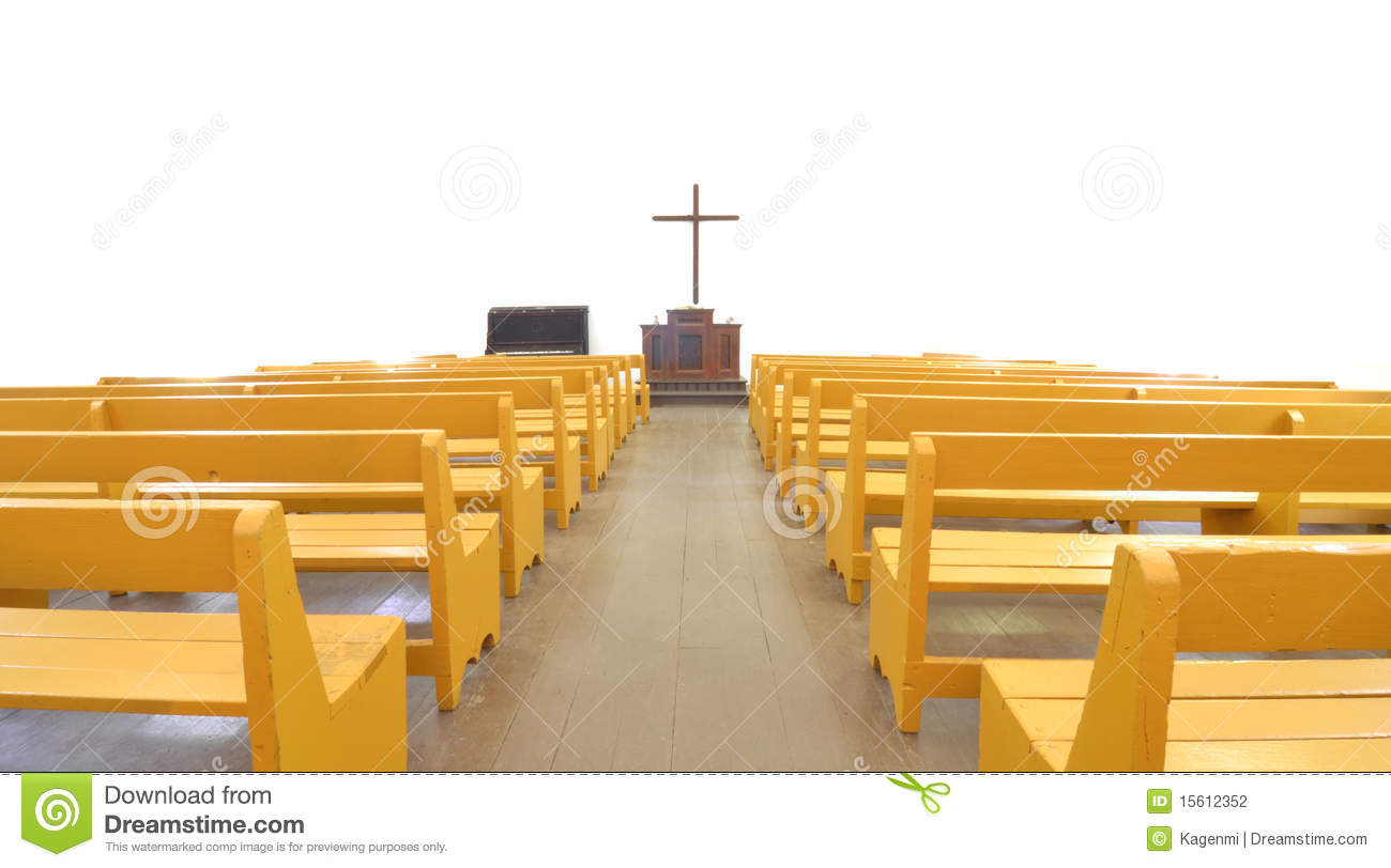 Church Pews In Front Of Cross And Altar Stock Photography.