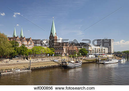 Stock Images of Germany, Bremen, view to boardwalk Schlachte.