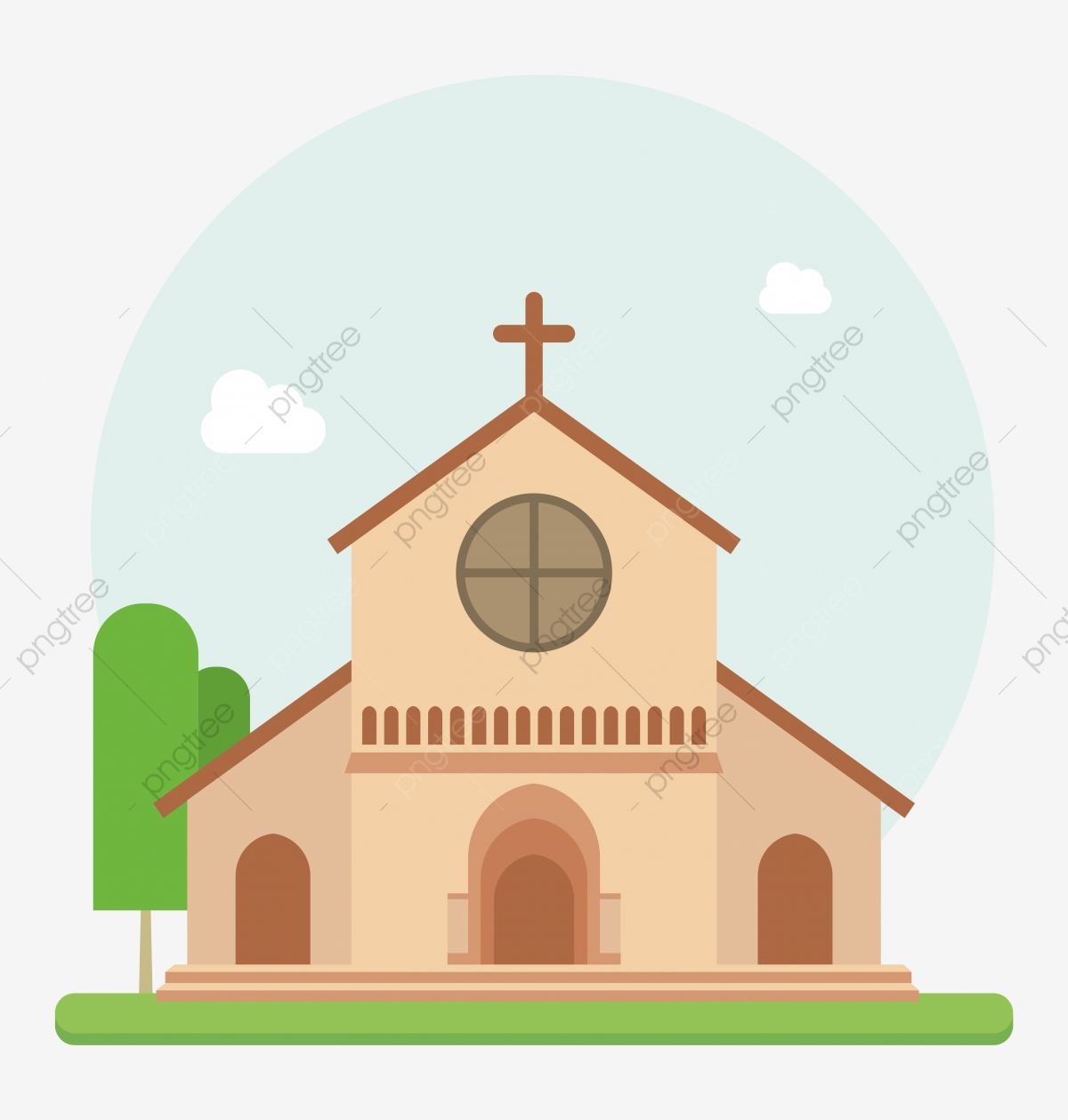 Christian Church Flat Vector, Religious, Christianity, Church PNG.