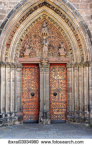 "Stock Photography of ""Gothic St. Elizabeth's Church, portal with a."
