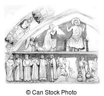 Stock Illustration of Portal of the church of the Holy Trinity in.