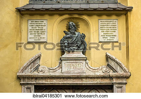 Stock Photography of Bust of Saint Markus, portal of the Markus.