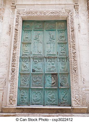 Stock Photo of Portal of Purgatory church. Monopoli. Apulia.