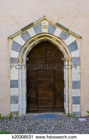 Stock Photography of Portal of the ancient Church called Badia di.