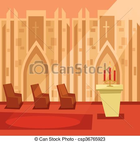 Vector Illustration of Empty church room inside. Vector flat.