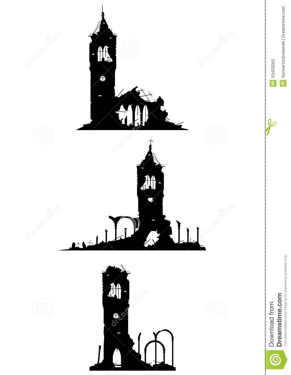 Church Ruins Stock Vector.