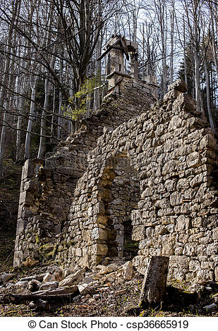 Stock Photography of Old church ruins.