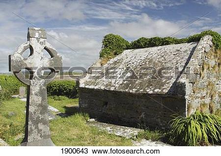 Stock Photo of kilmacreehy church ruins near liscannor in munster.