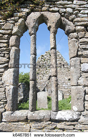 Stock Photography of Church Ruins of Hook Church in Ireland County.
