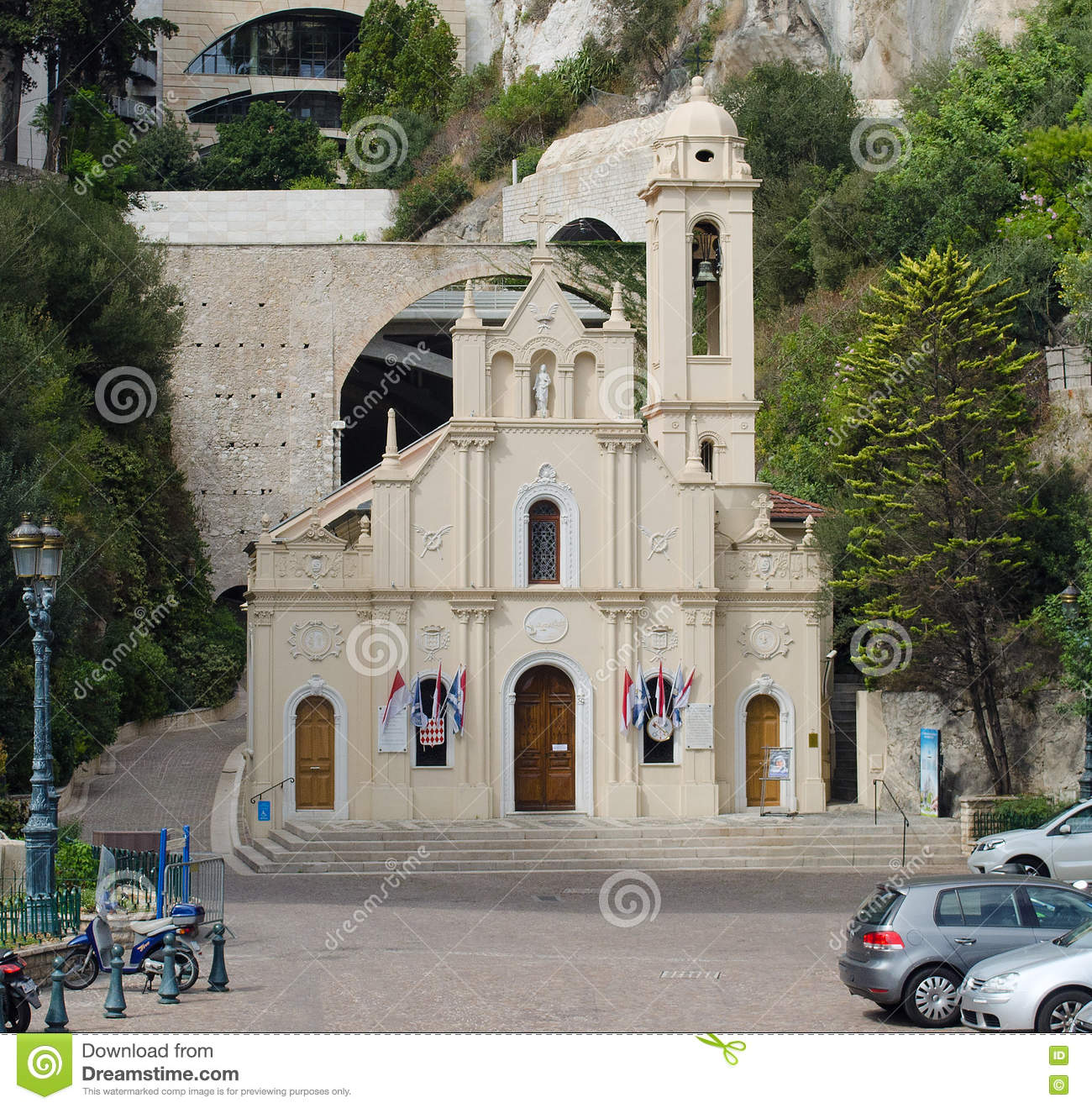 Sainte Devote Chapel, Monte Carlo, Monaco Stock Photo.