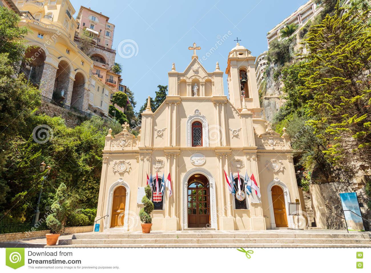 Sainte Devote Chapel, Monte Carlo, Monaco Stock Photo.