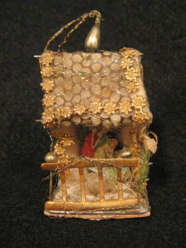 Antique German Sebnitz House with Scene Christmas Ornament.