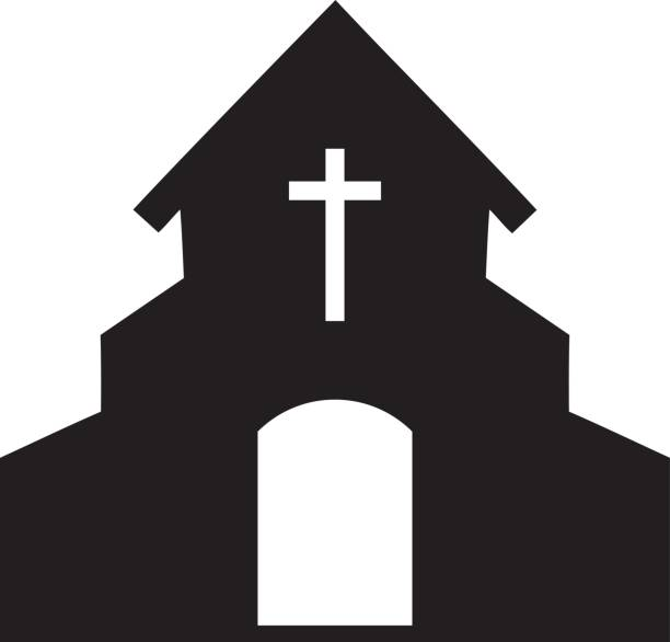 Vector illustration of a church icon silhouette » Clipart.