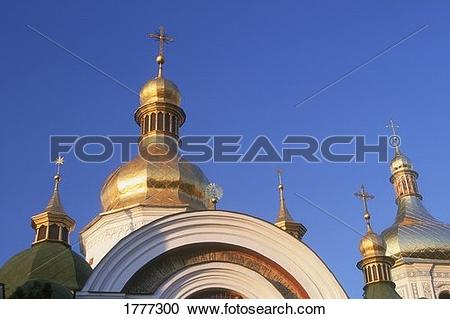 Stock Photography of Gilded domes and church spires Saint Sophia.