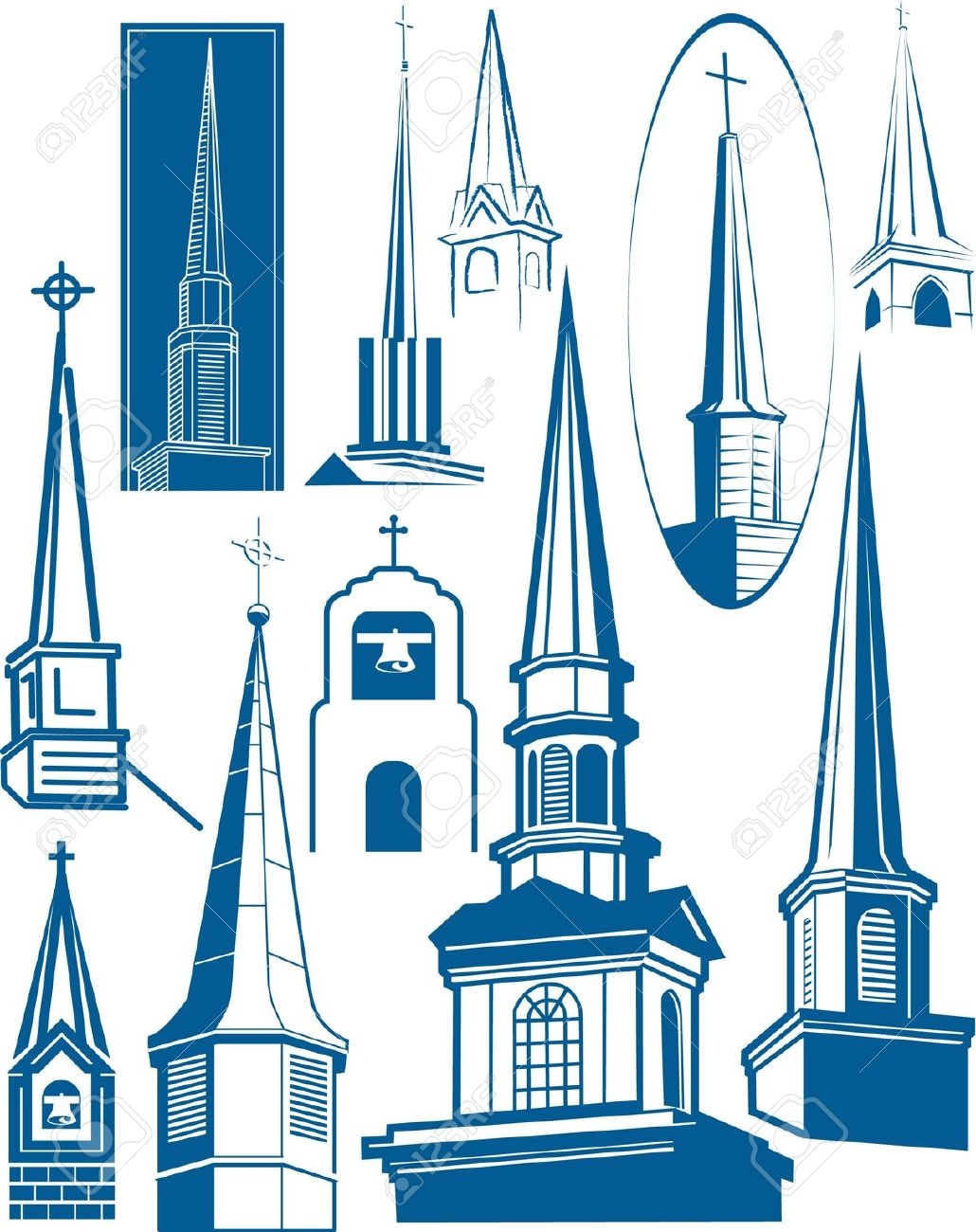 Steeple Collection Royalty Free Cliparts, Vectors, And Stock.